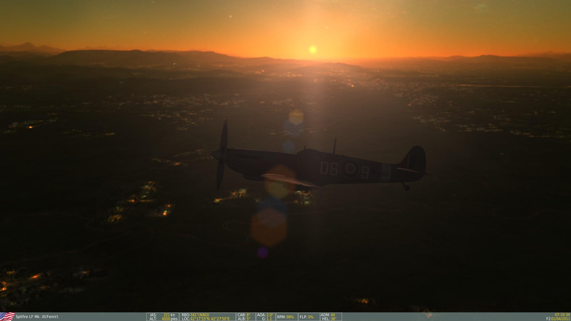 Otra vista del vuelo con el Spitfire de DCS