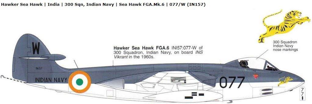 INS Vikrant ,Sea Hawk FGA.Mk.6 Unit: ,300 Sqn, Indian Navy